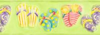 Kids Colorful Flip Flops on Lime Green Sure Strip Wallpaper Border RU8265B