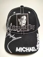MICHAEL JACKSON KING OF POP STITCHED BLACK CAP HAT VERY RARE TRIBUTE COLLECT NOW