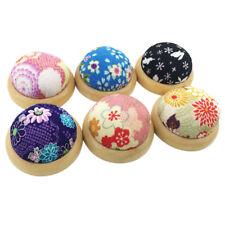 Wooden Base Flower Printing Needle Pin Cushion Style Stitch Sewing Needlework