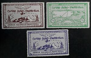 SCARCE c1938 Puerto Rico lot of 3 Semi-postal Airmail stamps Mint