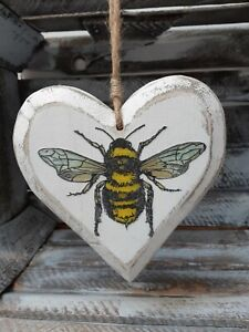 Shabby Chic Large  Decoupage Wooden Hanging Heart Bee design
