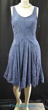 Taylor Dress Blue jean Denim 100% Linen sundress midi knee fit n flare 8 NEW