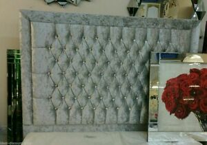 """40""""inch tall LUXURY BARCELONA DESIGN WALL HEADBOARDS in Crushed Velvet all sizes"""