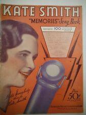 """1933 Kate Smith """"Memories"""" Song Book Robbins Music Corp   VG 1216SM"""