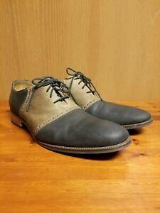 Cole Haan C14597 Black Brown Leather Saddle Oxford Plain Toe Mens US 11 M