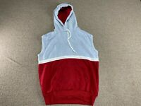 Blank Sleeveless Hoodie Sweatshirt Collegiate Pacific Red Gray Workout 80s VTG