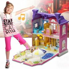 Doll House With Furniture Miniature House Dollhouse Assembling Toys For Kids 3Z