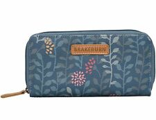 Brakeburn Ladies Trailing Leaf Design Zipped Purse Teal Floral
