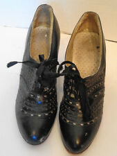 Vintage 30s 40s Black Perforated Tie Shoes 5