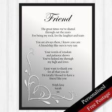 Friend Gifts. Personalised Birthday Gifts Best Friends. Keepsake Poem PRINT ONLY