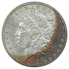 1881-S Morgan Silver Dollar, PCGS MS64 CAC, Crescent Rainbow Toned Obverse!