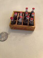 VINTAGE mini  miniature COCA-COLA Bottles In Wooden Crate
