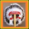 "Genuine Native American Navajo Indian Headdress 36"" BARRED TURKEY Brown & White"
