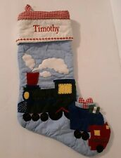 POTTERY BARN KIDS BLUE QUILTED CHRISTMAS STOCKING TRAIN *Timothy* NWOT RAILROAD