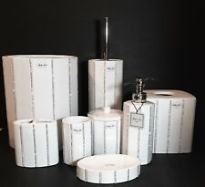 Nuevo BELLA LUX 8 Piezas Cerámica Blanca + Transparente Dispensador Jabón +