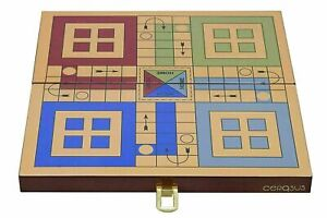 Indian Handmade Rare Folding Solid Wooden Ludo Board Game Unique Glossy Finish