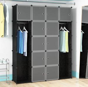DIY Plastic Wardrobe Closet Organizer 12-Cube Storage Cabinet H180cm vidaXL