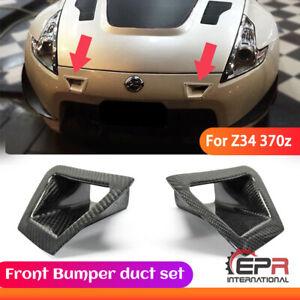For Nissan 2010-2016 370Z Z34 Carbon Fiber Front Bumper Air Duct Cover Trim