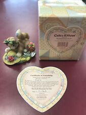 "2000 Enesco Calico Kittens ""The Earth Blossoms For You� 720674 W/ Box And Cert"