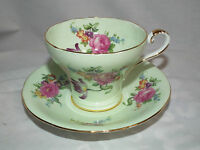 VINTAGE AYNSLEY GREEN FLORAL BOUQUET BONE CHINA TEA CUP & SAUCER ENGLAND