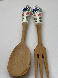 Vintage Salad Serving Wood Spoons Ceramic Handles