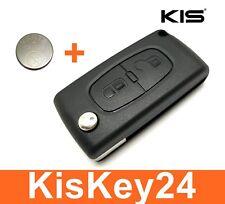 2Tasten Klappschlüssel Gehäuse für CITROEN C2 C3 C4 C5 C6 Berlingo + Batterie
