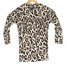 Chelsea & Theodore Women's Leopard Print Zip Up Blouse - Size Small