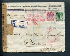 1940 STRAITS SETTLEMENTS, R-cover > JAVA; SINGAPORE REGISTRATION; censor marks