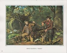 "1972 Vintage Currier & Ives HUNTING ""MINK TRAPPING PRIME"" COLOR Print Lithograph"