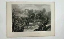 J M W Turner Engraving Egglestone Abbey Near Barnard Castle Antique Art Print