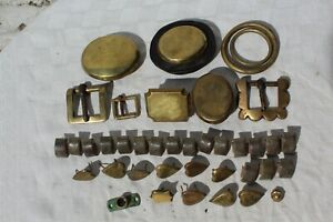 OLD HORSE BRASS LEATHER STRAP MARTINGALE HARNESS BROW BAND ETC STUDS BUCKLES