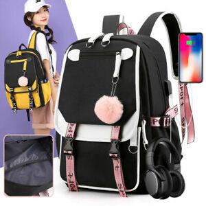 Women Large School Bag For Teenage Girls USB Backpack Travel Canvas Bag