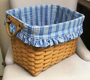 1999 Longaberger Newspaper Basket  Combo - Sky Blue Striped Liner - Nice!