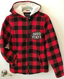 Ohio State boys jacket red/black plaid sz XL (14/16) fleece lined zip front