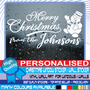 Personalised Christmas Window Stickers Wall decal Merry XMAS Home Shop Decor