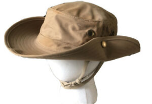 Vintage The Ultimate Hat Wide Brim Khaki Sze 7 5/8 Bucket Travel Sun Made in USA
