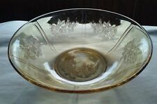 "Depression Glass Serving Bowl Cabbage Rose of Sharon Amber 8.5"" diameter"
