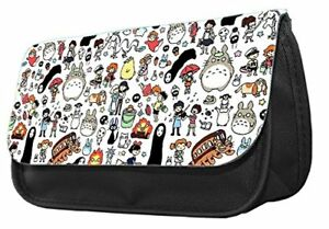 Ghibli Doodle Pattern themed Pencil case,Anime Totoro Ponyo No Face Make up case