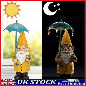 Solar Faceless Dwarf Statue Resin Gnome Glass Light Outdoor Garden Sculpture UK