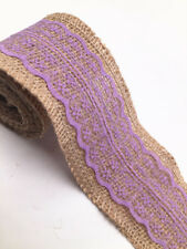 Crafts 2M Lace Burlap Ribbon Natural Jute Hessian Wedding Party width 6cm purple