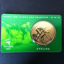 2000 UNC $5 SYDNEY OLYMPIC COIN ON CARD - CYCLING (ISSUE 25 OF 28)
