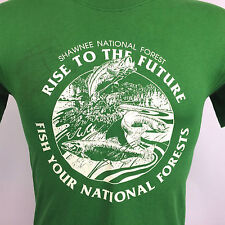Vtg 80s Paper Thin Distressed Shawnee National Forest State Park Fishing Tee M