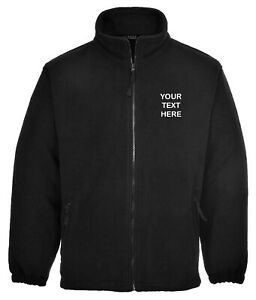 Embroidered/Personalised Black Full Zip Fleece Jacket, Name, Text, Ideal Gift