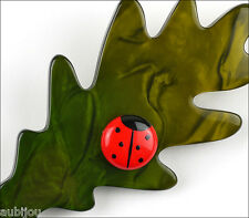 MARIE CHRISTINE PAVONE GREEN GALALITH OAK LEAF RED LADY BUG BROOCH PIN FRANCE