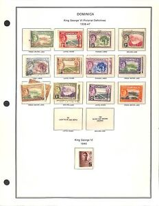 [OP9516] Dominica lot of stamps on 12 pages
