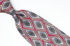 Robert Talbott Silk Neck Tie Burgundy Gray Green Brown Diamond Check Print USA