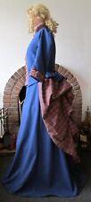 LADIES VICTORIAN / STEAMPUNK COSTUME BUSTLE SKIRT DRESS GOTH ( BLUE / TARTAN )