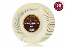Bulk Pack of 50 Disposable Plastic Party and Dinner Plates - Ivory Cream Color