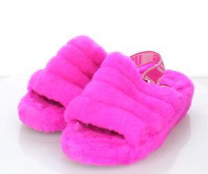 23-67 $100 Women's Sz 6 M Ugg Fluff Yeah Genuine Shearling Slide Sandals