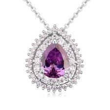 18K WHITE GOLD PLATED & GENUINE CUBIC ZIRCONIA & PURPLE CRYSTAL DROP NECKLACE